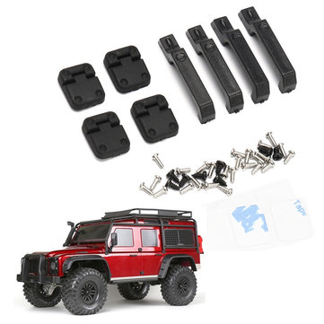 INJORA 1 Set Black Plastic Car Door Hinges & Door Handles For 1/10 RC Car Parts Crawler TRX-4