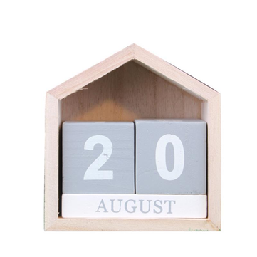 Vintage Design House Shape Perpetual Calendar Wood Desk Wooden Block Home Office Supplies Decoration