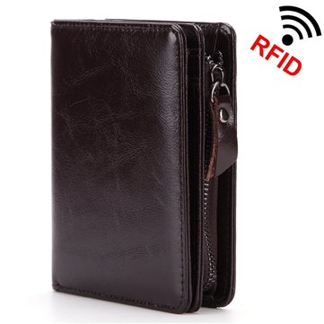 RFID Antimagnetic Genuine Leather Zipper Wallet Coin Bag For Men