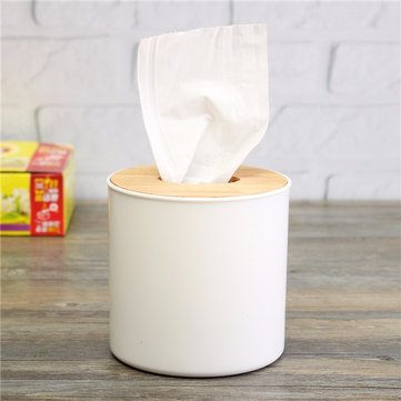 Round Wood Plastic Tissue Box for Home School Office Usage