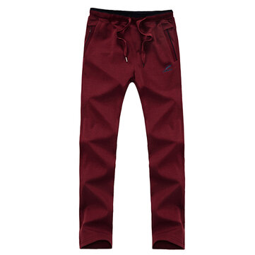 Extra Large Size Men Sports Casual Running Slacks Cotton Drawstring Waist Zipper Pocket Pants