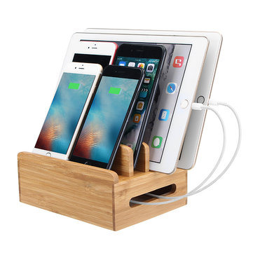 Bamboo Phone Tablet Holder Organizer Charging Stand For Smart Phone/Tablet PC/iPad/iPhone