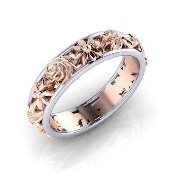 Sweet Rose Gold Flower Hollow Engagement Ring Wedding Ring