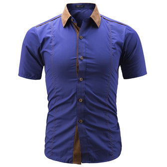 Mens Fashion Collar Stitching Summer Slim Designer Shirts