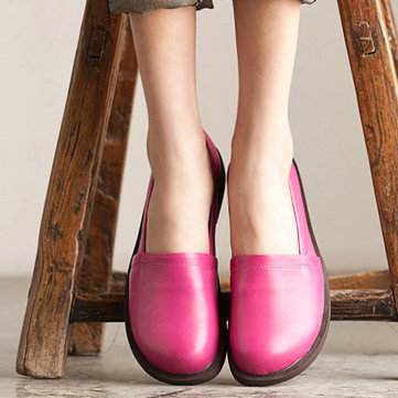 Leather Shoes Women Low Top Casual Outdoor Soft Slip On Flat Loafers