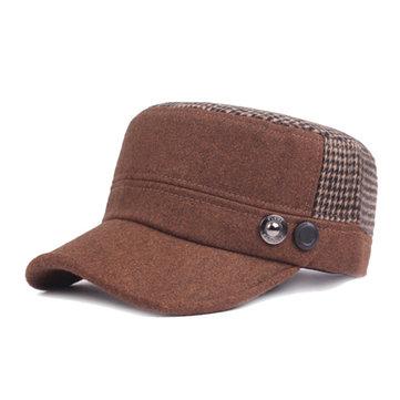 Men Fur Warm Flat Top Cap Vintage Patchwork Adjustable Cap Baseball Cap