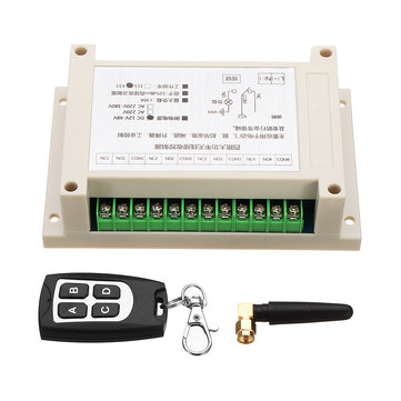 433MHz 4CH Channel Remote Control Switch Module Learning Code DC12-48V 180-700W 30A Four Way Relay