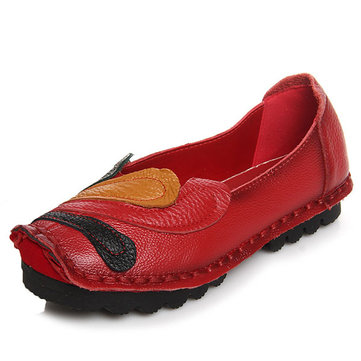 SOCOFY Handmade Stitching Original Slip On Retro Flat Loafers