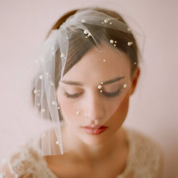 Bride Half Pearl Veil Wedding Soft Net Hair Accessories