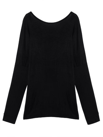 Sexy Backless Solid Long Sleeve Round Neck Women T-Shirt