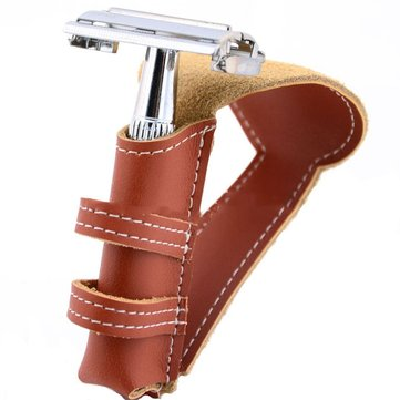 Brown Genuine Leather Shaver Case Safety Classic Double Edge Razor Pouch
