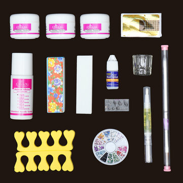 14 Acrylic Powder Nail Art Set False Nail Art Brushes Dispenser Sanding File