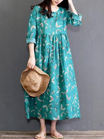 Vintage Women Floral Pleated High Waist Mid-long Dress