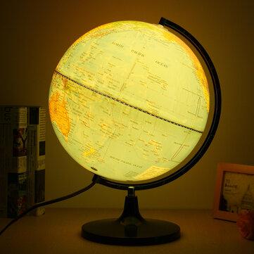 110V Blue Ocean World Earth Globe Map Rotating Night Light Desktop Decoration Education
