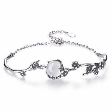 S925 Silver Elegant Chain Bracelets White Gold Plum Blossom Plant Bracelet Fashion Jewelry for Women