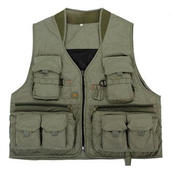 Mens Outdooors ประมง ตาข่ายสีทึบกระเป๋าเดินทาง Casual Casual Multi กระเป๋าใส่เสื้อกั๊ก Breathable Vest Waistcoat