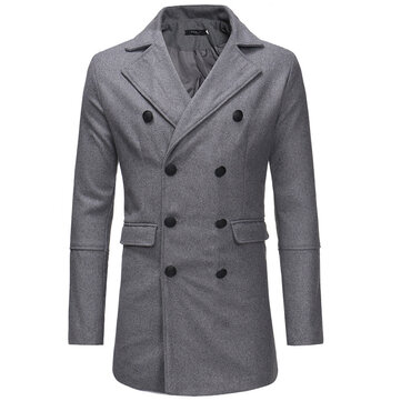 Mens Fit Woollen Double Breasted Suit Collar Mid Long Business Casual Trench Coat