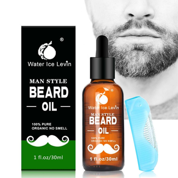 Water Ice Levin Beard Oil Men Grooming Care Blue Comb Mustache Nourish 30ml