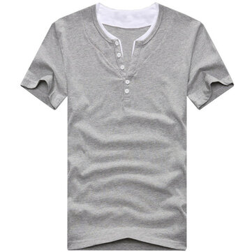 Plus Size S-6XL Loose Cotton Solid Color Men Casual Summer T-shirts
