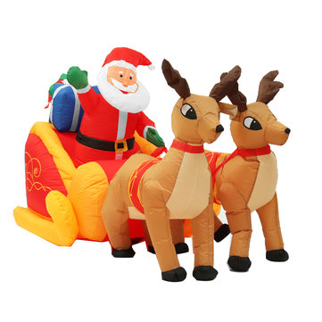 2.2M Jingle Jollys Christmas Tree Decoration Inflatable Toys Santa Sleigh Ride Reindeer Deer Decor