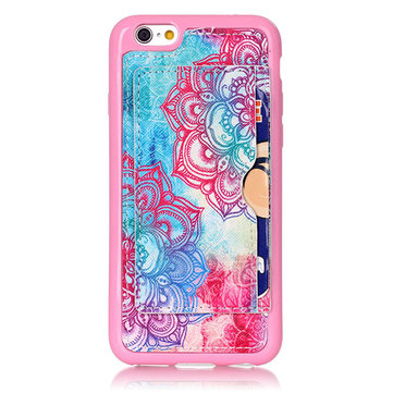 Fashion Pattern Flowers Creative Back Holder Protector Case For iPhone 6/6s Plus