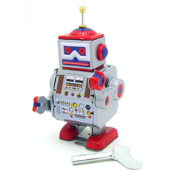Buy Classic Vintage Clockwork Wind Up Robot Kids Children Reminiscence Tin Toys With Key for $8.74 in Banggood store