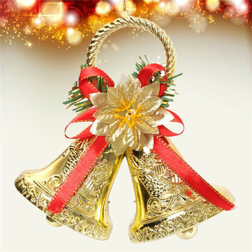 christmas bowknot double bell xmas tree ornament pendant door hanging decoration - Christmas Bells Decorations