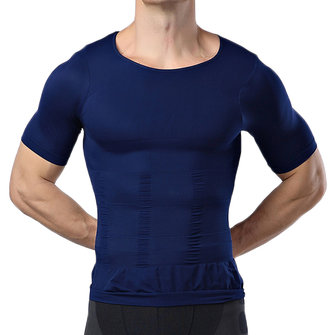 Body Sculpting Mens High Elastic Abdomen Fitness Slim Fit Body Building Sport T-shirt