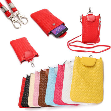 Universal PU Leather Cell Phone Shoulder Bag Pouch Case Handbag With Strap