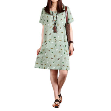 Casual Women Feather Printing Pocket Straight Cotton Linen Dress