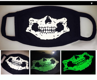 Unsiex Men Women Noctilucence Luminous Green Cartoon Skeleton Pattern Anti-Dust Cotton Mouth Mask