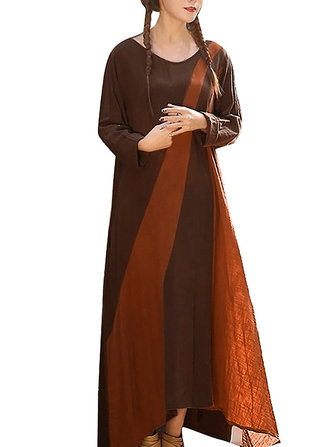 S-4XL Casual Women Color Patchwork Long Sleeve Dress