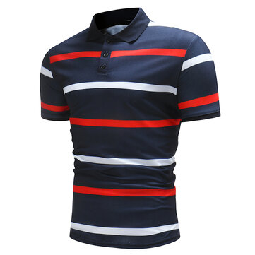 Mens Color Blocking Stripe Wash and Wear Polo Shirt