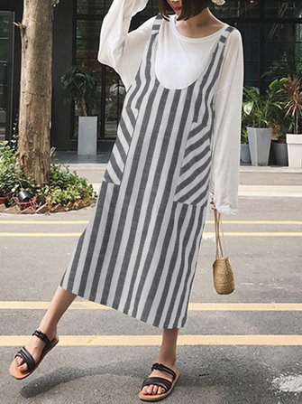 Women Stripe Strap Split Dresses