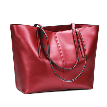 Women Geunine Leather Handbag Retro Shoulder Bag High End Leather Tote Bag