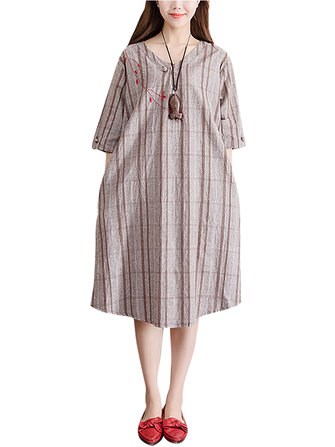 Plus Size Women Plaid Dress Embroidery Flax Half Sleeve Pockets Dresses