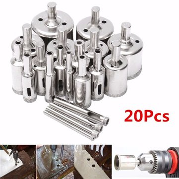 20pcs 4-40mm Diamond Hole Saw Drill Bit Set for Tiles Ceramic Glass Marble