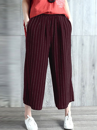 Women High Waist Casual Loose Stripe Long Pants Trousers