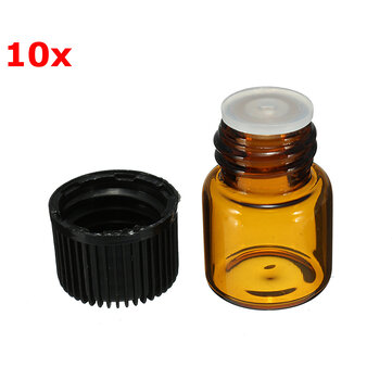 10Pcs Small Amber Glass Essential Bottle for Perfume 1ml