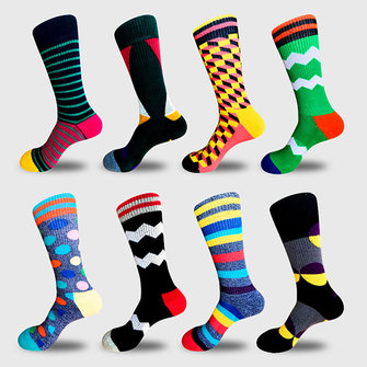 Men's Novelty Geometic Pattern Cotton Middle Tube Socks Casual Harajuku Style Men Socks
