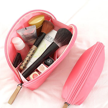 Fan Shaped Waterproof Portable Makeup Bag Nylon Mini Comestic Storage Travel Toiletry Organizer