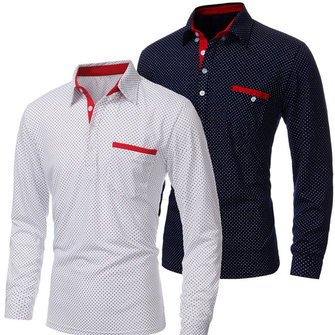 Mens Polka Dot Long Sleeve Polo Shirt Casual Designed Dress Shirt Tee