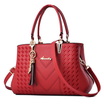 Womens Double Layer PU Tote Handbag Shoulder Bag