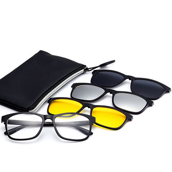 3 Piece Magnet Dual-Purpose Reading Glasses Lens With Glasses Frame for Men and Women