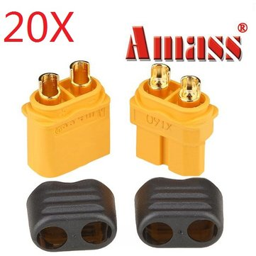 20 Pair Amass XT60+ Plug Connector With Sheath Housing Male & Female