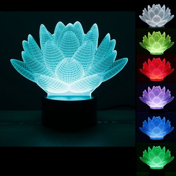 3D Optical illusion Lotus Flower USB 7 Colors Changing LED Desk Table Light Lamp