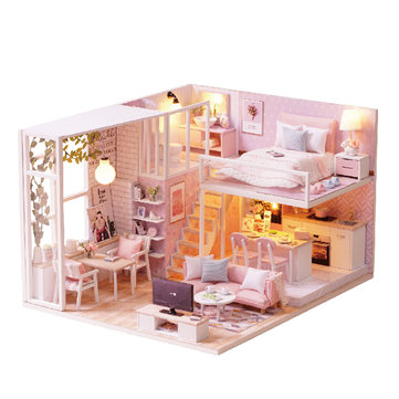 Cuteroom L-022 Quiet Life DIY Doll House With Furniture Light Cover Gift Toy