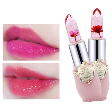 Temperature Change Color Flower Jelly Lipstick Waterproof Transparent Lips Balm Long Lasting