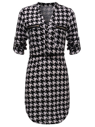 Asymmetrical Houndstooth V Neck Work Dress For Women With Belt