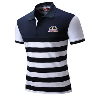 Spring Summer Casual Business Golf Shirt Men's Fashion Embroidery Stripes Short Sleeve Tops
